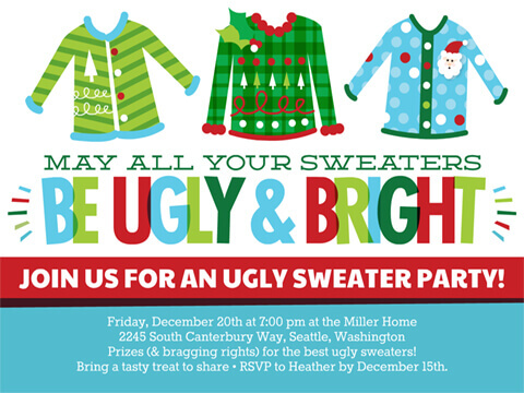 Christmas Invite Ugly & Bright Sweaters