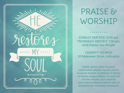 church flyer - He Restores My Soul