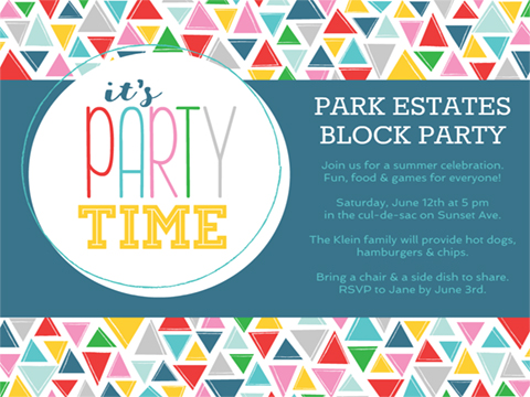 party invite flyer - Party Time Triangles